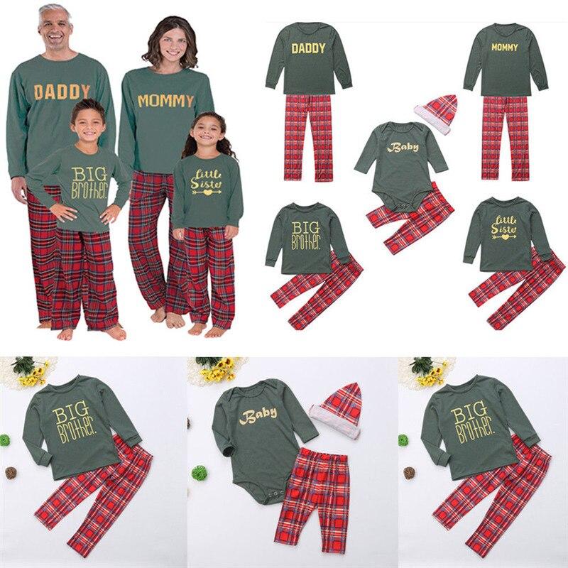 Family Christmas Pajamas Set Father Mother Kids Plaid Xmas PJS Baby Clothing Sets Family Match Pajamas 2019 New Year's Costume