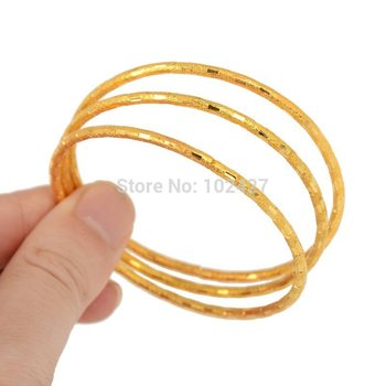 NEW 3/4/6Pcs 1 Set Simple Design Bangle Fashion Jewelry Children Gift Trendy Gold Silver Plated Round Bracelets Bangles earrings