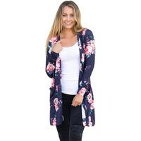 Autumn Women Floral Printed Blouse Coat Windbreaker Cardigan Casual Long Sleeved Open Stitch Jackets Coats New