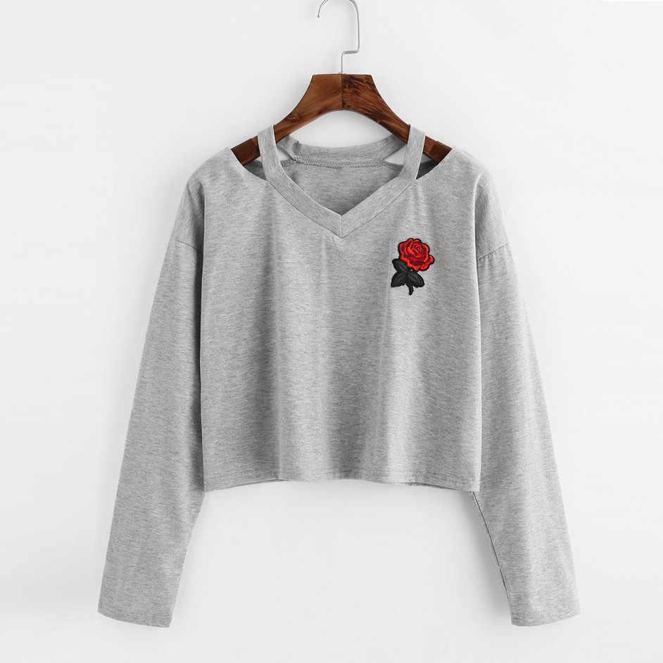 brillo de color código promocional calidad asombrosa Sweatshirt Hoodies Women V Neck Rose Print Full Sleeve ...