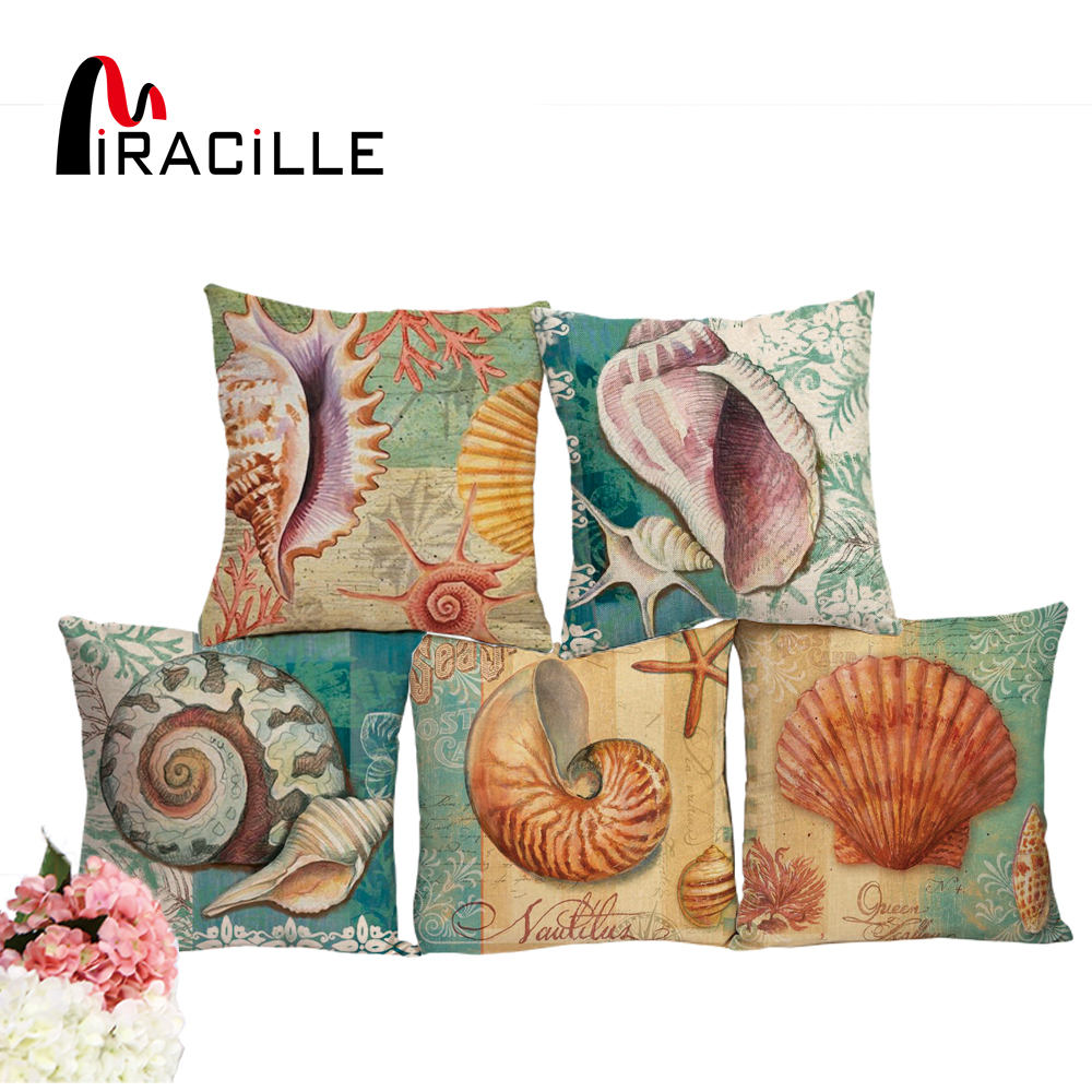 Miracille 45cm Linen Blend Marine Sea Shell Mønster Kast Pute Cover for Couch Capa De Almofada Sengetøy Ocean Decoration
