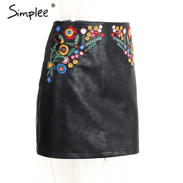 Simplee Embroidery black faux leather skirt Cool high waist flower mini skirts womens Sexy evening club zipper female skirt