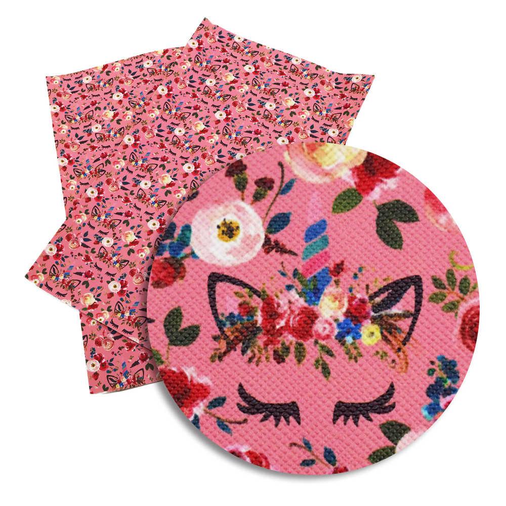 30*140 cm Cartoon jednorożec zwierząt drukowane tkanina ze skóry syntetycznej arkusz, materiały ręcznie robione DIY dla torba na telefon, 1Yc4003