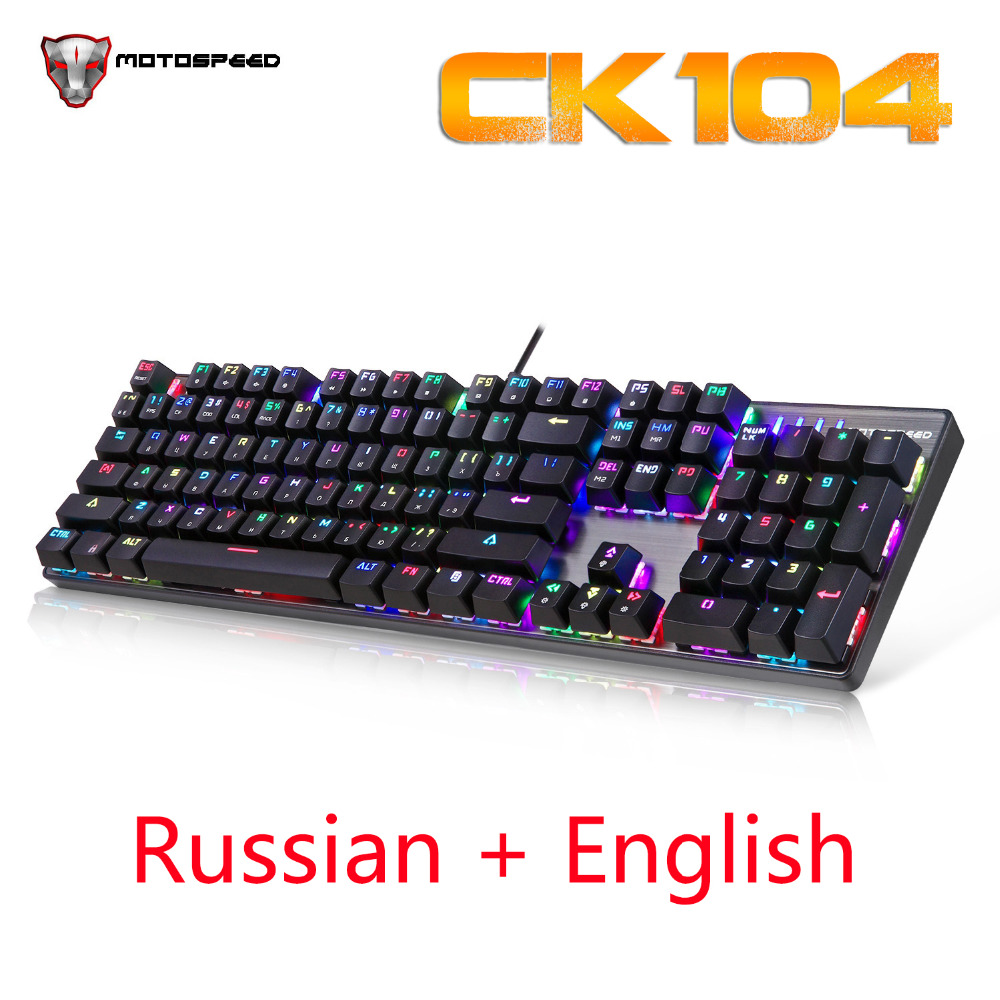Russian Keyboard Motospeed CK104 Wired Mechanical Keyboard 104 Keys RGB Keyboard Gaming Backlit Anti-Ghosting for Teclado Gamer free gift mouse pad motospeed ck104 wired mechanical keyboard 104 keys real rgb blue switch gaming led backlit anti ghosting