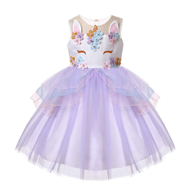 9e95856894c69 Unicorn Party Dress for Girls Clothes Flower Embroidery Kids Dresses for  Girls Costume Princess Tutu Dress Children Clothing
