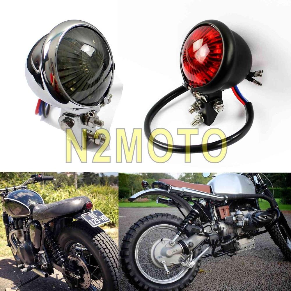"MOTORCYCLE BATES HEADLIGHT UNIVERSAL 5 3//4/"" CHROME SIDE MOUNT CUSTOM CAFE RACER"