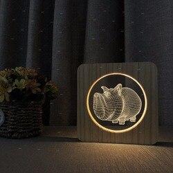 Nowy rhino design drewniane akrylowe bestsellery lampy stołowe dla dziecka sen home decor lampka nocna dorośli zmiana koloru