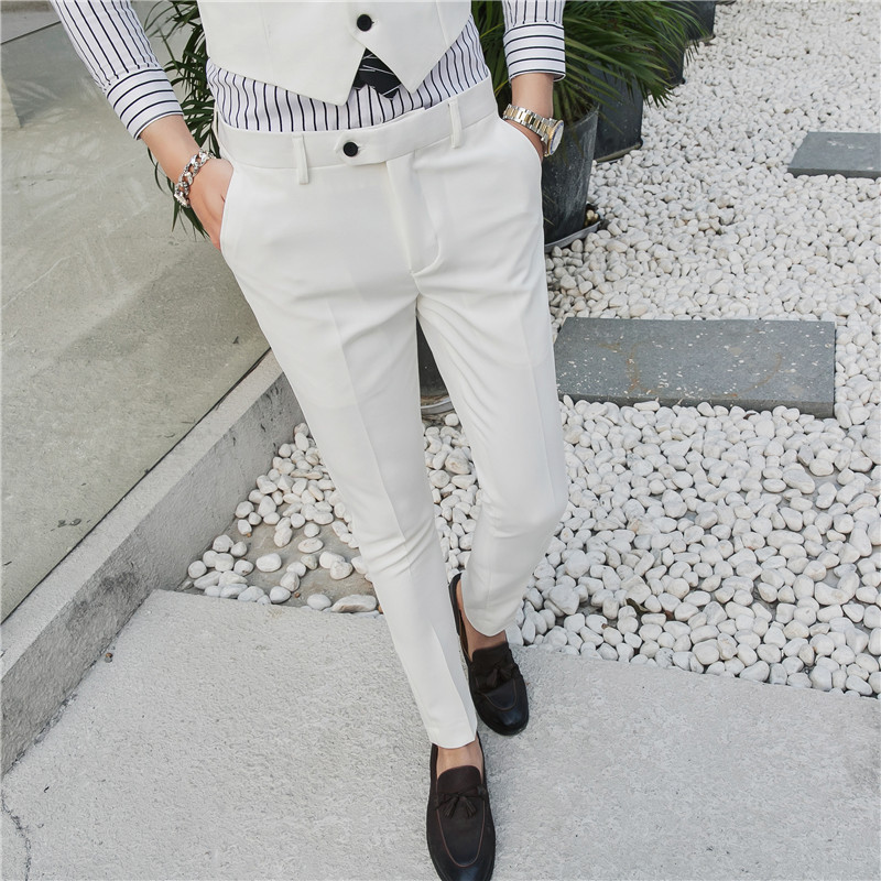Suit-Pants Trousers Wedding-Dress Business Formally Men's Elastic Slim Cotton Fashion