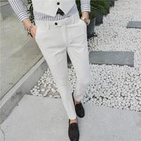 2019 Cotton Men's Pure Color Fashion Boutique Elastic Slim Business Formally Suit Pants / Male Wedding Dress Suit Pants Trousers