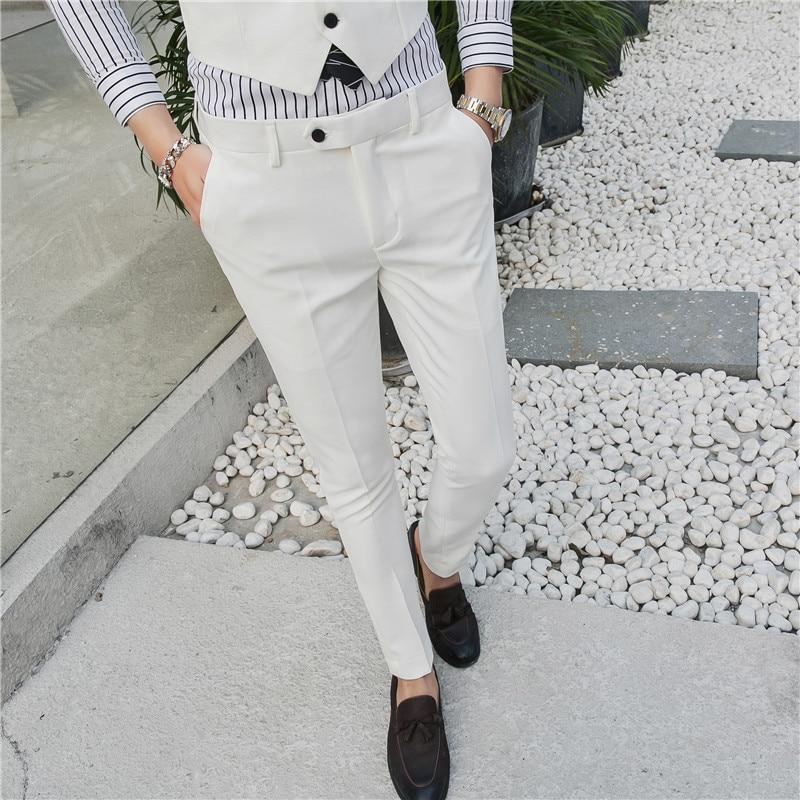 2019 Degli Uomini Del Cotone Di Colore Puro Di Modo Boutique Elastico Sottile Di Affari Formalmente Pantaloni Dell'abito/vestito Da Cerimonia Nuziale Maschile Pantaloni Dell'abito Pantaloni