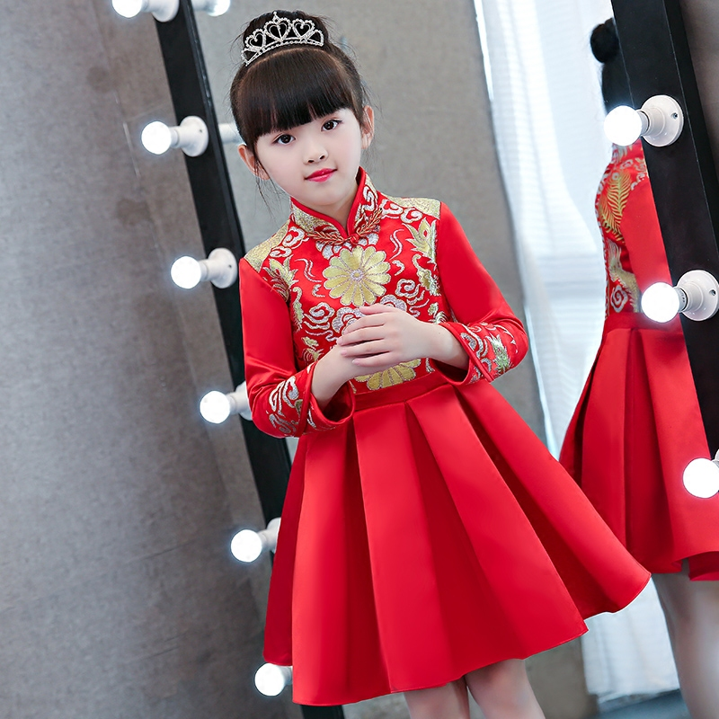 Children Girls New Chinese Traditional Cheongsam Red Color Qipao Princess Party Dress Kids Babies Birthday Wedding Pageant Dress dress coat traditional chinese style qipao full sleeve cheongsam costume party dress quilted princess dress cotton kids clothing