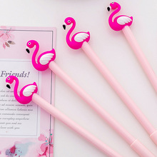 4Pcs Creative Flamingo Gel Pen Kawaii animal Black Ink Writing Signature Pens for Girls Nice Office Stationery School Supplies never mid summer gel pen metal signature pen 0 5mm black ink gift packing for girls office accessories kawaii school stationery