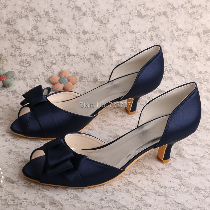 Wedopus MW556 Navy Blue Satin Low Heel Women Party Shoes Party Peep Toe Autumn Spring