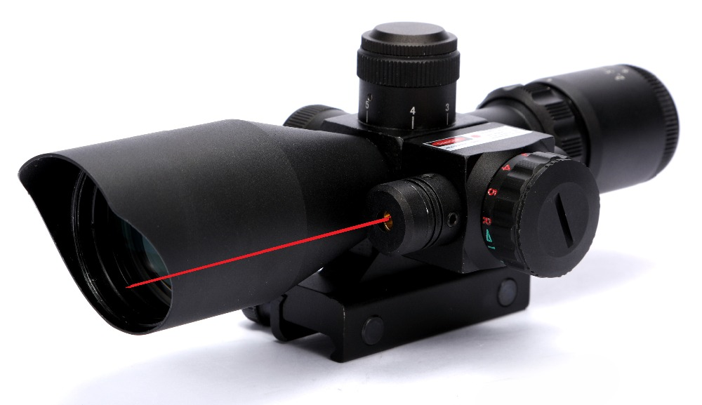ФОТО Tactical 2.5-10x40 Red & Green Dot Illuminated Reticle Riflescope Hunting Scope with Red Laser Sight, 20mm / 11mm Rail Mount
