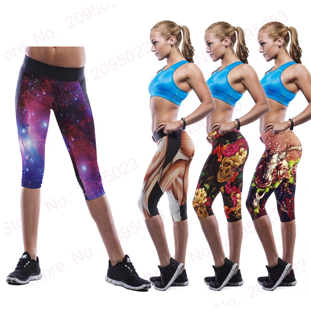 024b025fdba Womens Athletic Wear Yoga Running Pants Fitness Sports Leggings Capri pants  GYM Workout Clothing Bodybuilding Cropped Trousers on Aliexpress.com