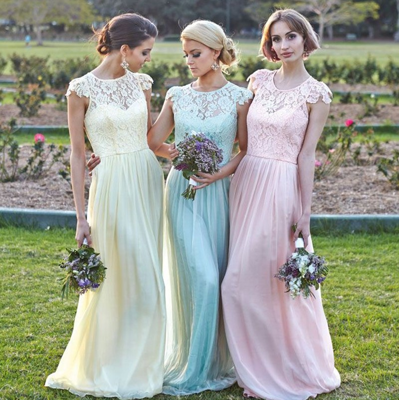 2016 vestido madrinha de casamento Pink Mint Green Blue Yellow Cap Sleeve Lace   Bridesmaid     Dress   Long Wedding Party   Dresses