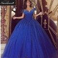 Venda Quente novo 2016 Azul Royal vestido de Baile de Cinderela Com Decote Em V Manga Curta Macio Tule Flores de Lantejoulas Prom Vestidos Vestidos de Noite