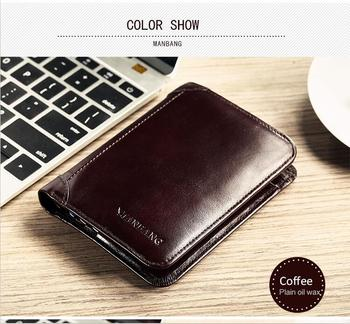 ManBang Classic Style Wallet Genuine Leather Men Wallets Short Male Purse Card Holder Wallet Men Fashion High Quality 7