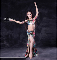 Girls Belly Dance Clothes Set Kids Belly Dancing Clothing Fashoin Printing Top Long Skirt 2pcs Child