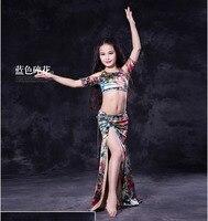 בנות בגדי ריקודי בטן סט ריקודי בטן לילדים fashoin בגדי ריקודי בטן ילד הדפסה למעלה + חצאית ארוכה 2 יחידות חליפת SML