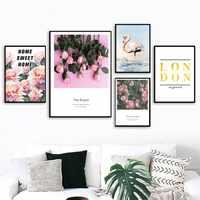 Скандинавские розовые цветы розы для спальни фламиго Холст Живопись стены искусства плакат и печатная графика Современная Настенная карти...