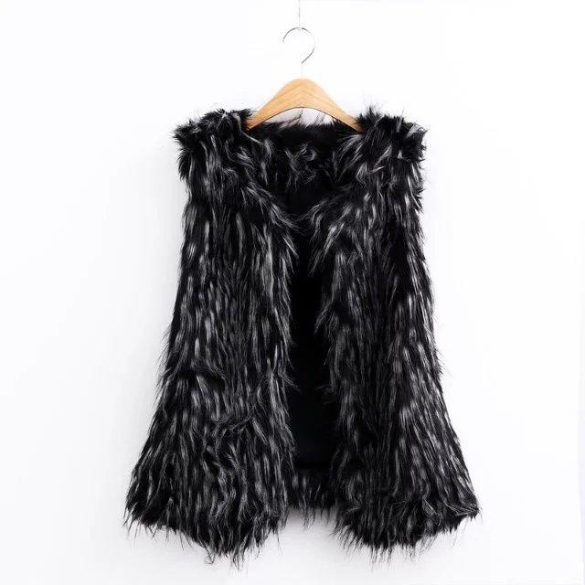 New Fashion Ladies Fur Vest Women Sleeveless Jacket Waistcoat Black Faux Fur Vest Winter Autumn Outwear Coat AF0777-1017
