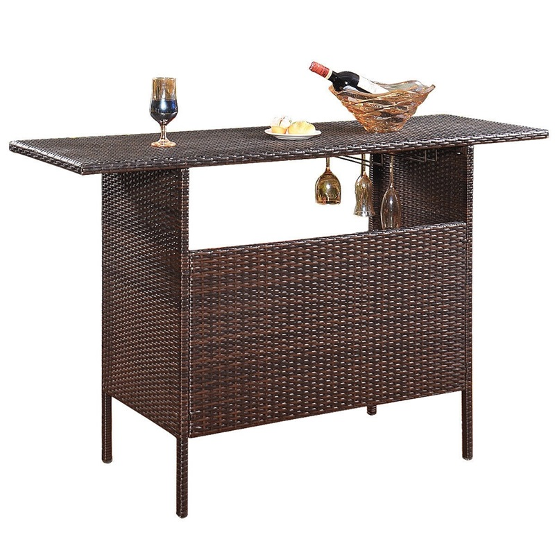 Outdoor Patio Rattan Bar Tables Modern Self-contained Countryside Counter Assembly Stainbelow Steel Table HW52884