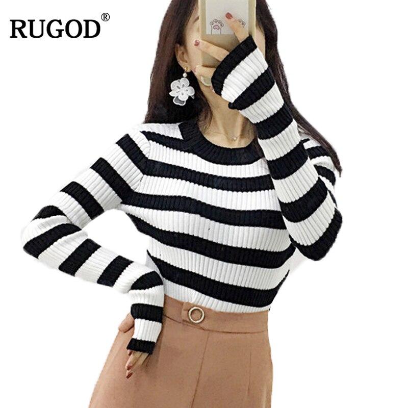 RUGOD 2018 New Slim Striped Blouse Women O neck Unique Design Sleeve Pullover Women 2018 Autumn Winter Basic Brief Sweater Tops