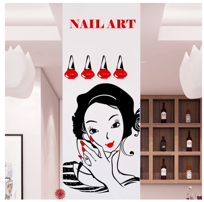 DCTAL Nail Salon Wall Stickers, Nail Salon Wall Decals For Glass Door Mural Removable Wall Sticker
