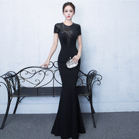 Traditional Evening Gown Style Chinois Femme National Chinese Cheongsam Dress Sexy Bride Traditions Long Qipao Dresses Black