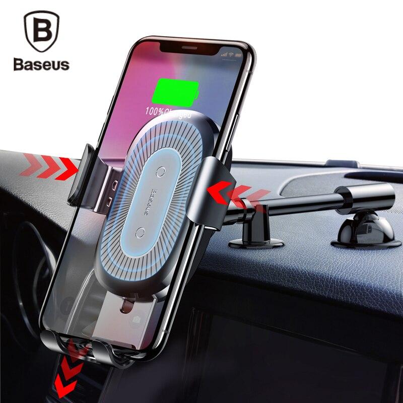 Baseus QI WIRELESS-LADEGERÄT Auto Handyhalter für iPhone 8 Samsung S9 Plus Auto Montieren Schnelle Drahtlose Lade Ladegerät Telefon stehen