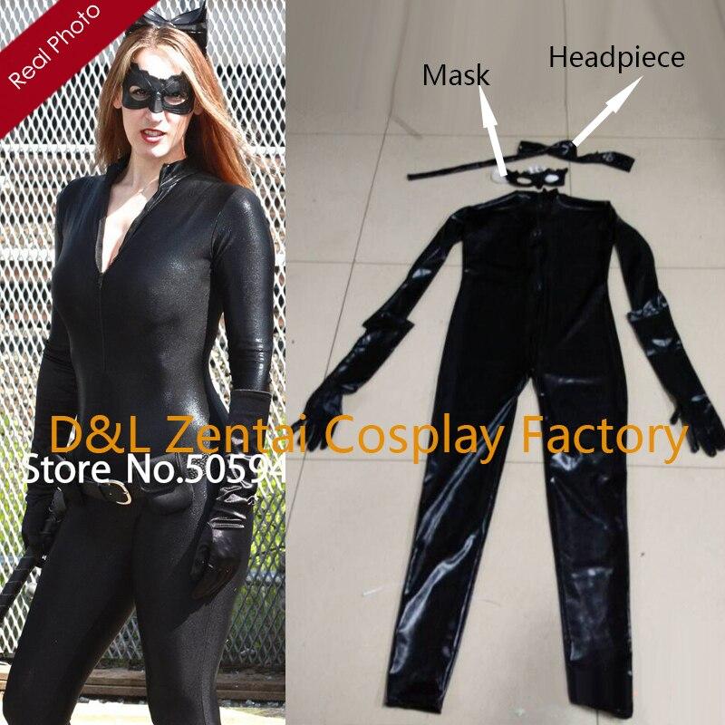 Free Shipping DHL Dark Knight Rises Catwoman Zentai Catsuit Costume Shiny Metallic Super Hero Cosplay Halloween