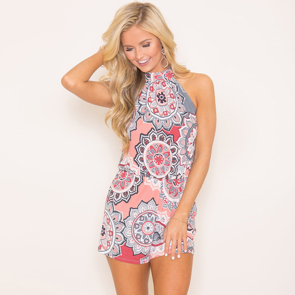 ac601596f9e5 YJSFG HOUSE 2018 Fashion Women Playsuits Club Harajuku Summer Bodycon Party Jumpsuit  Romper Print Halter Shorts Beach Holiday-in Rompers from Women s ...