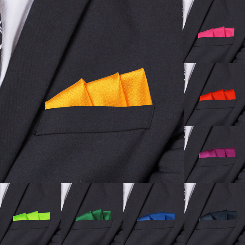 Satin Handkerchief For Men Candy Color Mens Suits Pocket Square Business Chest Towel Hanky Suit Napkin Solid Hankies