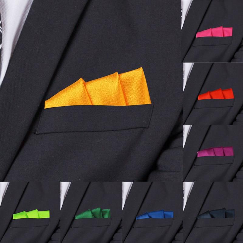 Satin Handkerchief For Men Candy Color Mens Suits Pocket Square Business Chest Towel Hanky Suit Napkin Solid Hankies