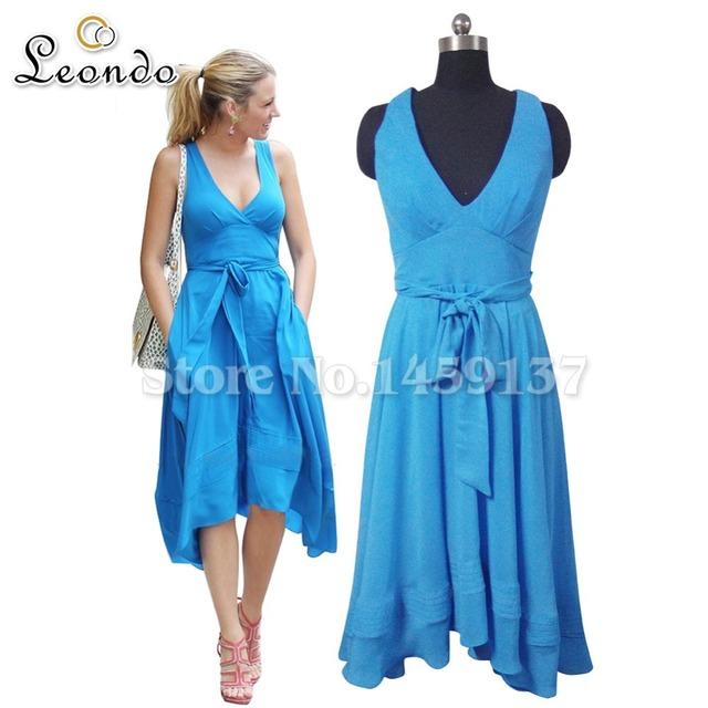 Vestido azul Celebridade Blake Lively Brilhante Com Um Envoltório Malha Em Gossip Girl Com Bolso Comprimento Chá Vestido de Baile