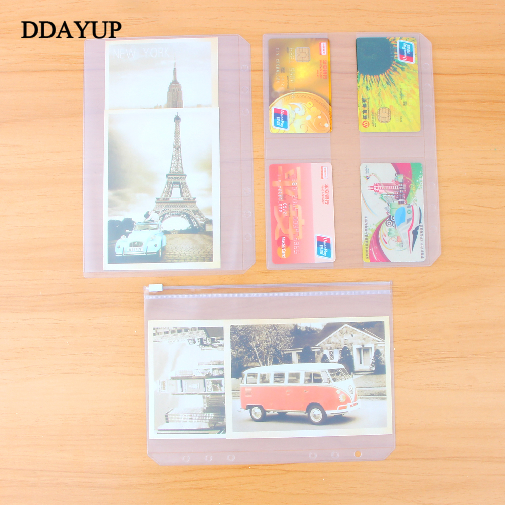 A5A6 Pvc Presentation Binder Folder Zipper Receive Bag Concise Planner's Spiral Filing Products Card Holder Bag