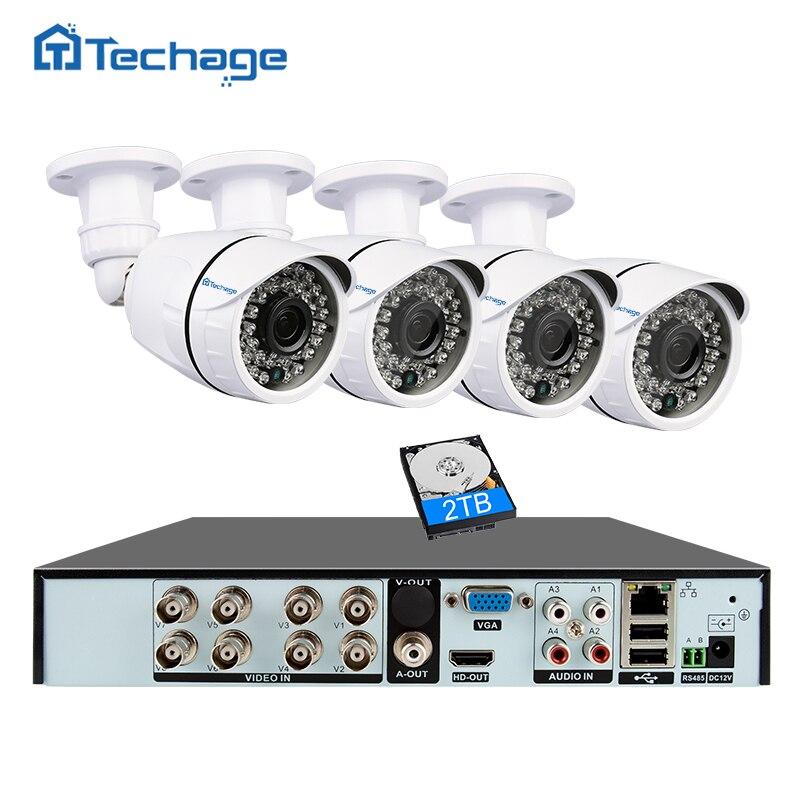 Techage 8CH 1080 p HDMI AHD DVR Kit CCTV Kamera System 4 stücke 2MP Außen Kamera IR Nacht Vision Video sicherheit Überwachung Set