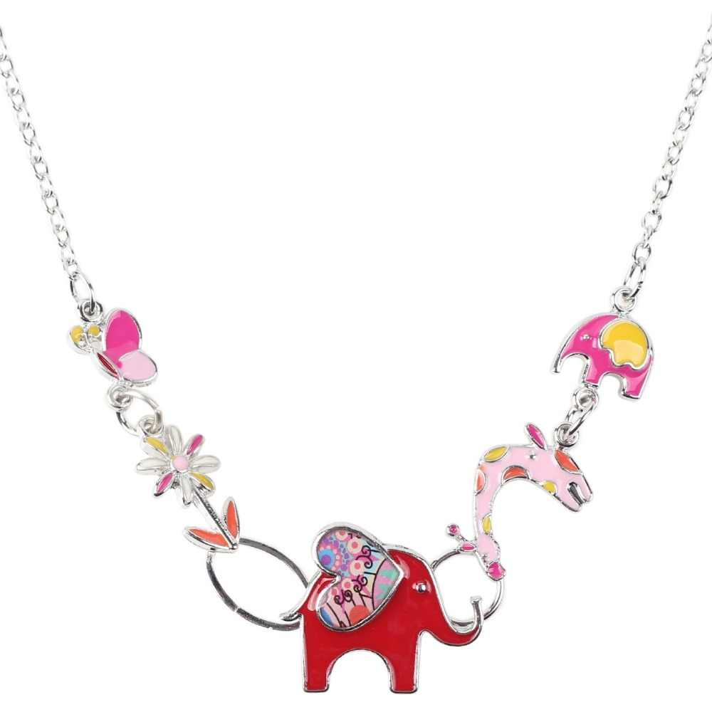Bonsny הצהרת קולר אמייל פרפר ג 'ירפה פיל שרשרת קסם מתכת סגסוגת שרשרת תליון תכשיטים חדשים לנשים צווארון