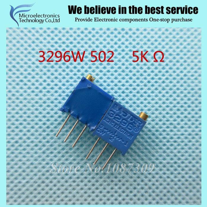 10Pcs 3296W 502 5k ohm Top regulation Multiturn Trimmer Potentiometer High Precision Variable Resistor 3296W-1-502LF