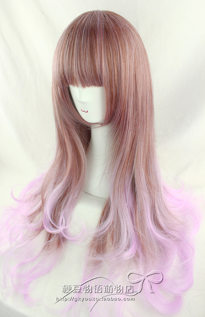 DHL 14 days arrival 2012 new arrival wig oblique bangs pink gradient fashion wig 4550