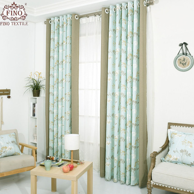 Blue Curtains For Living Room Embroidered Lace Tulle Khaki Solid ...