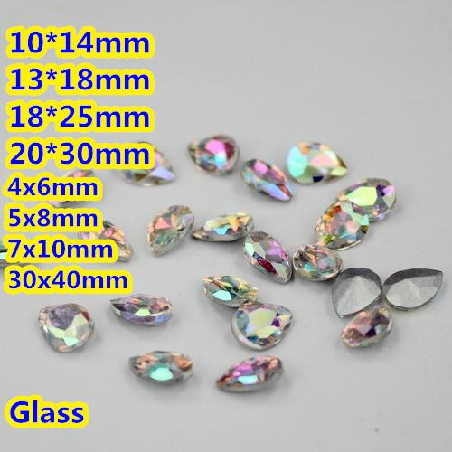 Cristal AB Pêra Lágrima de Cristal Extravagante Stone Point Voltar Vidro Pedra Para A Jóia DIY Accessory.10 * 14mm 13*18mm 18*25mm 20*30mm