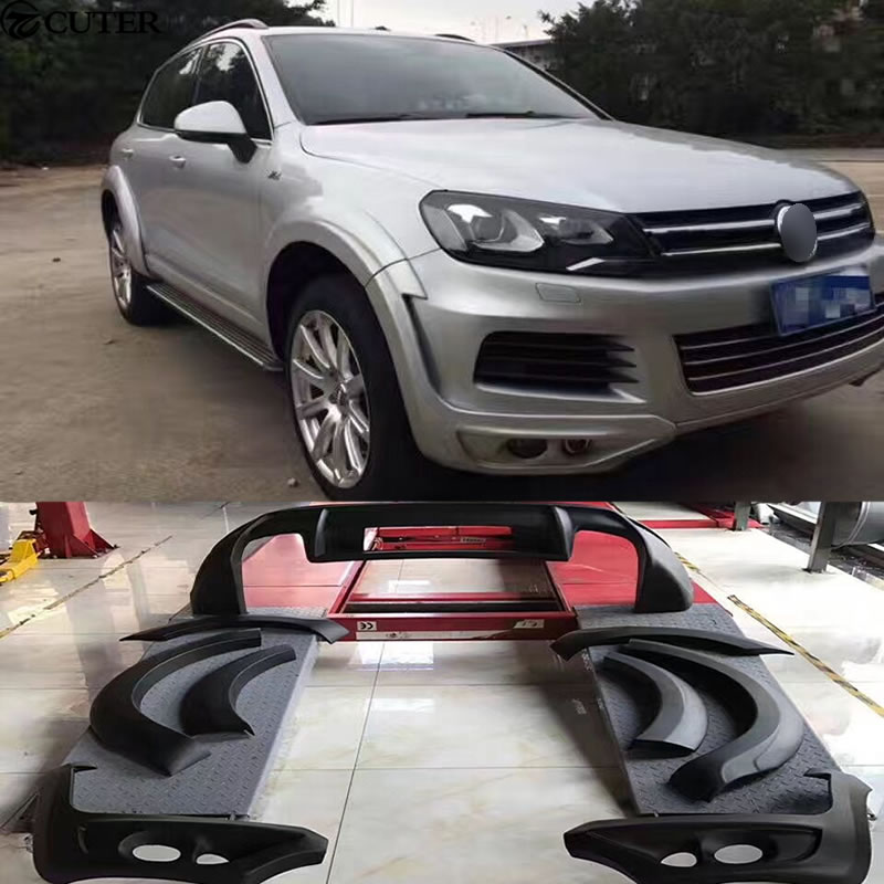 JE estilo body kit Carro sobrancelhas roda de PU Wide body kit Spoiler difusor traseiro Do Carro para Volkswagen VW Touareg 11-13