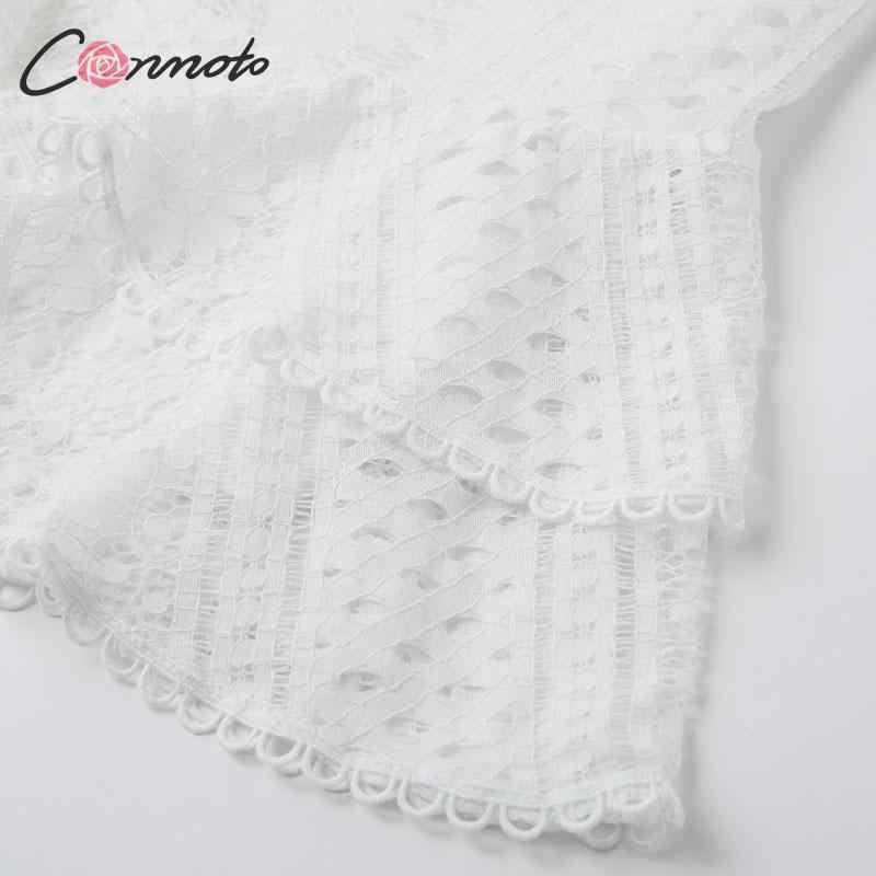 Conmoto Autumn Winter Elegant Short Dress Women Fashion White Embroidery Lace Mini Dress Mujer Chic V Neck High Waist Vestidos