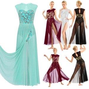 Image 2 - TiaoBug פרחוני פאייטים שרוולים למבוגרים מודרני עכשווי ריקוד לירי תלבושות התעמלות בלט בגד גוף נשים ארוך שמלה