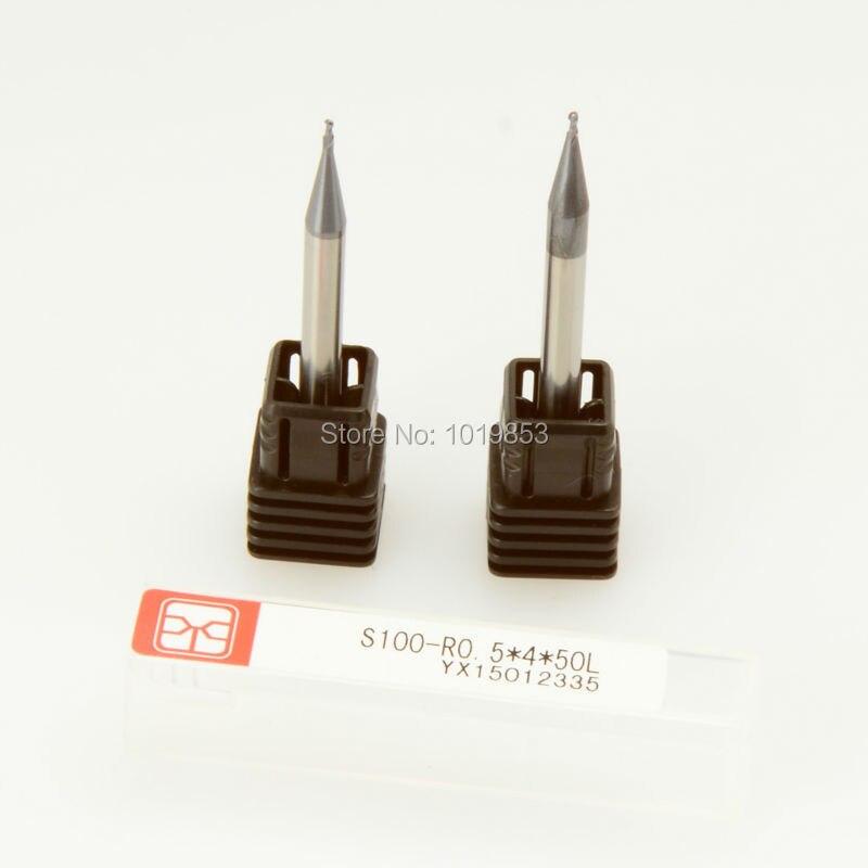 Slons S100-R0.5   4   50L HRC45 4mm diámetro del vástago nariz de la bola  del carburo de tungsteno molino final para máquina cnc 0a3be5caf32