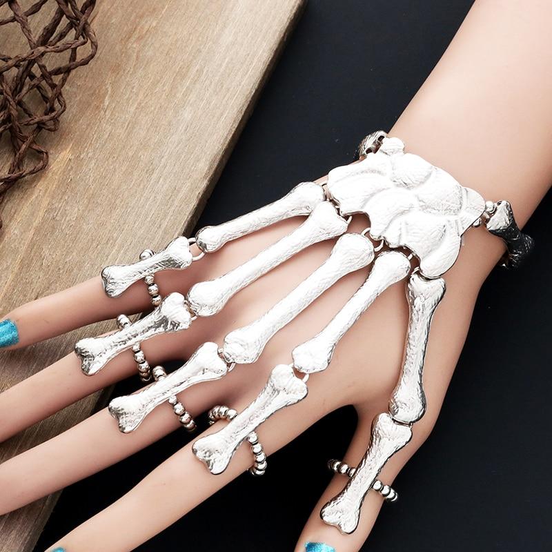 2019. gada pankūka gotiskās galvaskausa rokassprādze ar roku kaulu - Modes rotaslietas - Foto 4