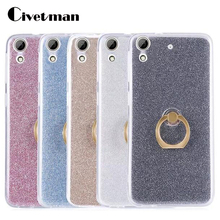 Cover Phone Case For HTC Desire 626 626w 626G 5.0 High Quality TPU Silicone Transparent Shell Flash Glitter Powder Ring Stent