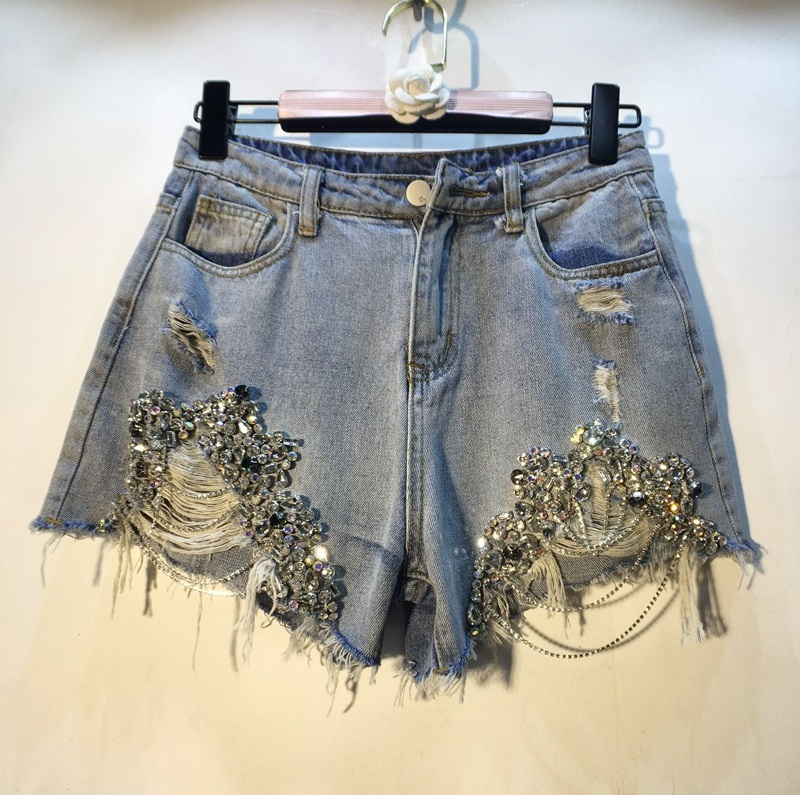 European Holes Hot Pants 2019 Spring Summer Woman's New Heavy Industry Beads with Drilled Chains   Jeans   Shorts Lady Denim Pants